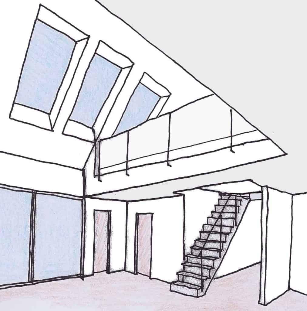 Ausgebauter offener Dachraum