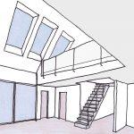 In Trockenbauweise ausgebauter Dachraum